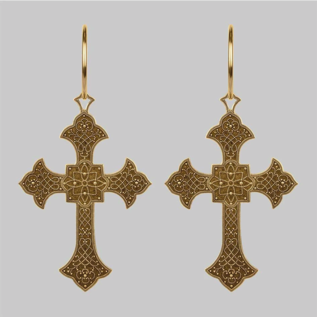 Regal Rose cross earrings for wedding inspo